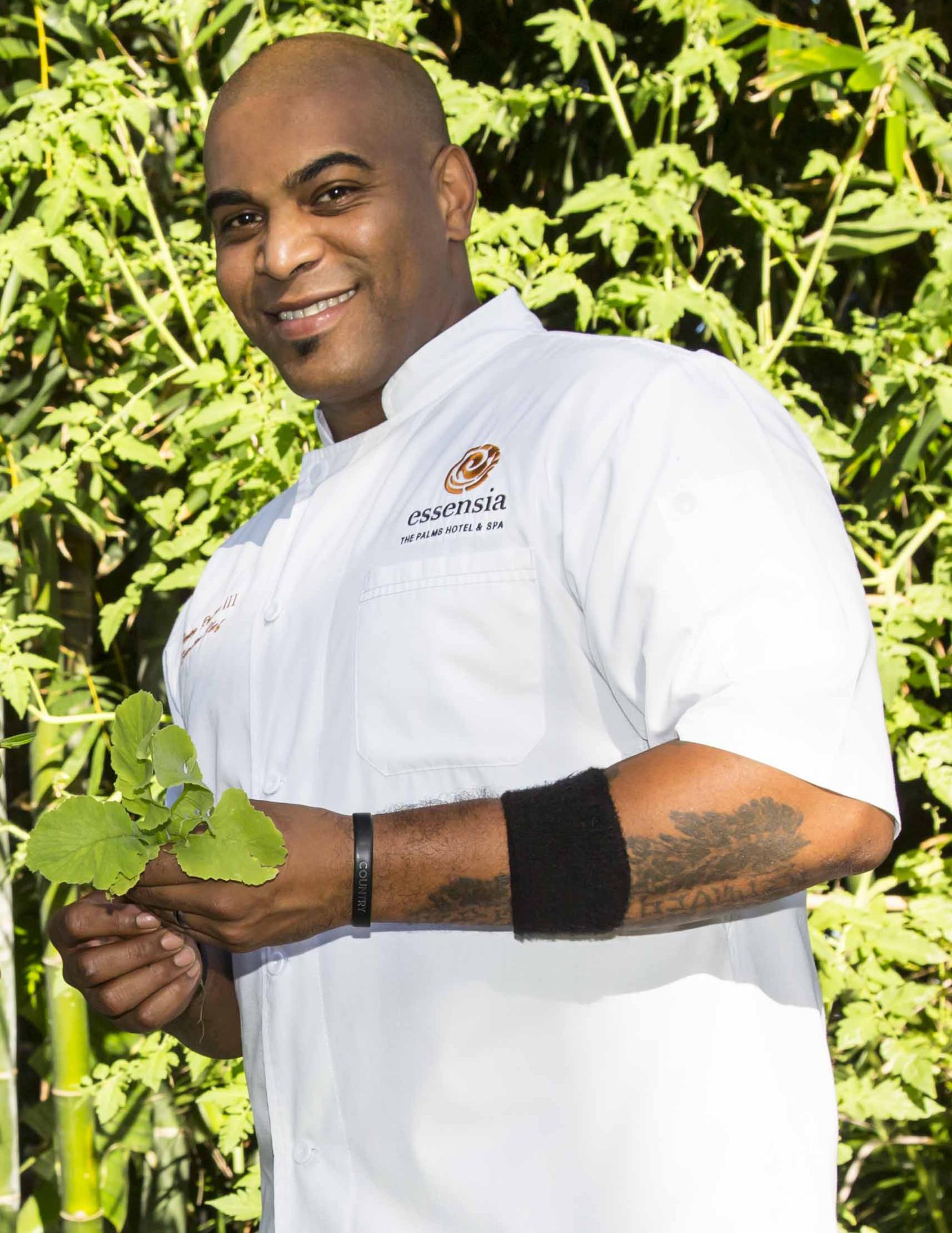 Chef Venoy in the garden