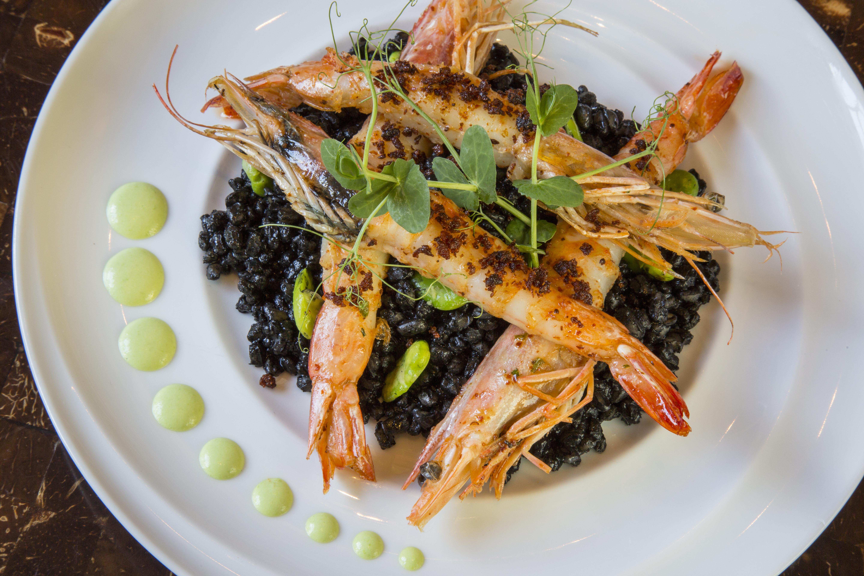 Essensia Shrimp with Squid Ink Farro