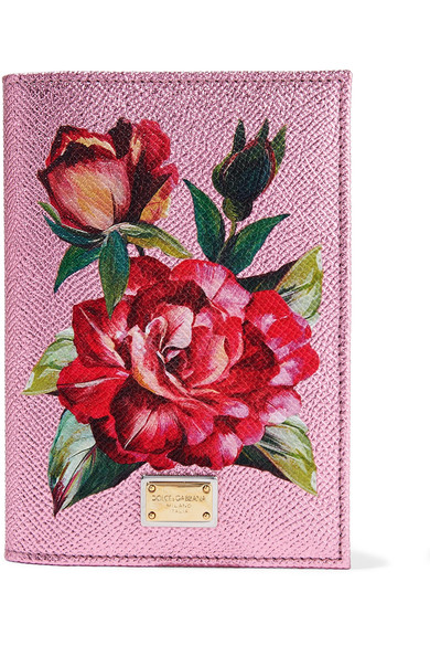 DOLCE&GABANA FLORAL PRINT METALLIC TEXTURED LEATHER PASSPORT COVER