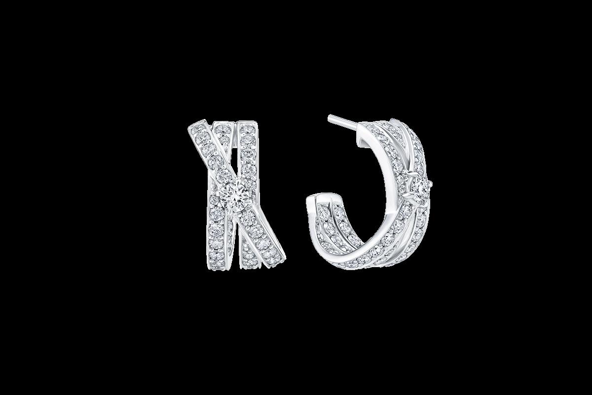 HARRY WINSTON DIAMOND CROSSOVER EARRINGS SET IN PLATINUM