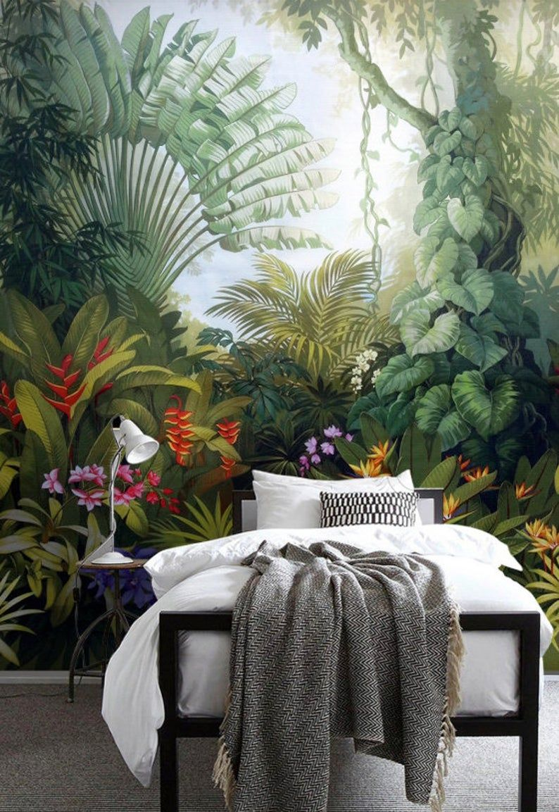 Green Plants Tropical Exotic Jungle Wallpaper Restaurant Decor Decorative Living Room Cafe Office Bedroom Mural Home Wall Art Hola Latinos News